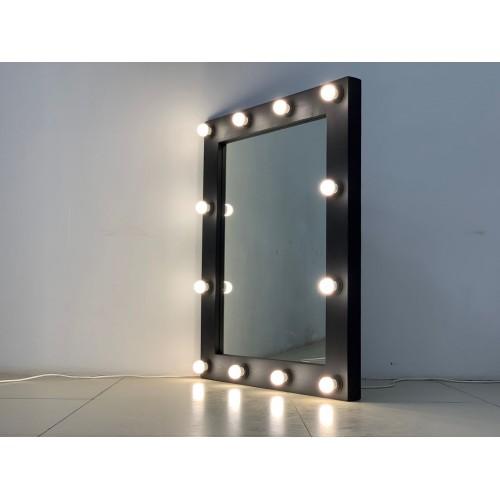 Гримерное зеркало в стиле лофт 100x80 черного матового цвета 14 ламп по контуру