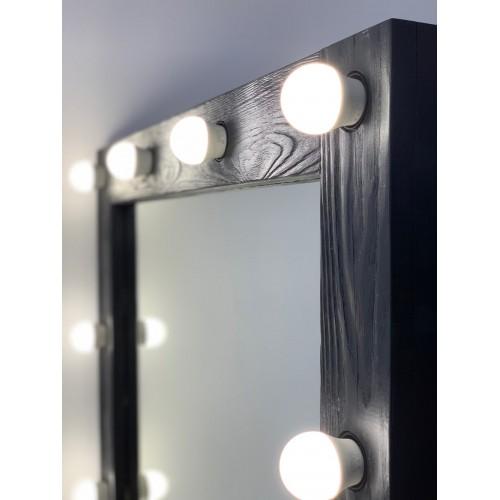 Черное гримерное зеркало 90х70 с подсветкой по краям