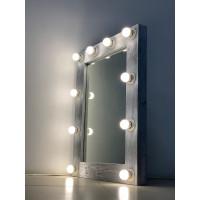 Зеркало для ванной комнаты из дерева 80х60 серебро